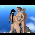 【3Dエロアニメ】ふたなりむっちりお姉さん達に赤毛の少女がたくさんぶっかけられる